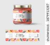 ripe peaches fruit jam label... | Shutterstock .eps vector #1879913287