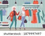 elderly women enjoying shopping ...   Shutterstock .eps vector #1879997497