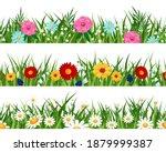 spring flowers lawn patterns.... | Shutterstock .eps vector #1879999387