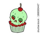 cartoon halloween cup cake   Shutterstock .eps vector #188000447