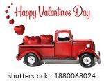 red pick up truck. valentines...   Shutterstock . vector #1880068024