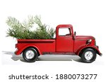 red pick up truck. vintage pick ... | Shutterstock . vector #1880073277