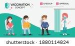 people get vaccines with doctor ... | Shutterstock .eps vector #1880114824