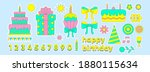 a set of birthday stickers. set ... | Shutterstock .eps vector #1880115634