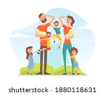 large family with many children ... | Shutterstock .eps vector #1880118631