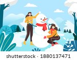 girls making snowmen in the...   Shutterstock . vector #1880137471