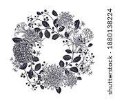 vintage wreath of beautiful... | Shutterstock .eps vector #1880138224