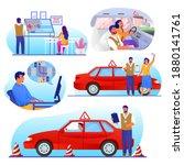 driving school set  flat vector ... | Shutterstock .eps vector #1880141761