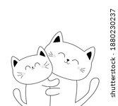 Cat Hugging Couple Family. Hug  ...