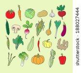 set of hand drawn vegetables.... | Shutterstock .eps vector #188027444