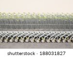 Shopping Carts In A Row With...