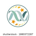 dna chain with twisted stars in ... | Shutterstock .eps vector #1880372287