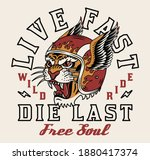 tiger with helmet illustration... | Shutterstock .eps vector #1880417374