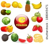 illustration vitamin c in foods ... | Shutterstock .eps vector #188045471