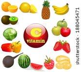 illustration vitamin c in foods ...   Shutterstock .eps vector #188045471