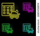 calendar carwash neon color set ...