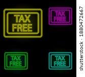 duty free neon color set icon....