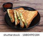 Veg Grilled Sandwich Served...