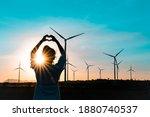 Wind Turbines Farm Is An...