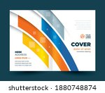 brochure cover curves stripes... | Shutterstock .eps vector #1880748874