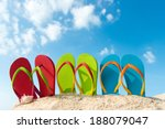 row of colorful flip flops on... | Shutterstock . vector #188079047