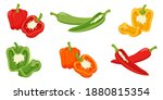 Set Of Sweet Peppers. Whole...