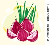 shallot or red onion are the... | Shutterstock .eps vector #1880858947