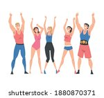 group of athletic people... | Shutterstock .eps vector #1880870371