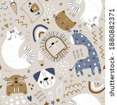 seamless childish pattern with...   Shutterstock .eps vector #1880882371