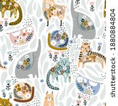 seamless pattern with cute... | Shutterstock .eps vector #1880884804