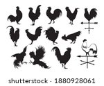 set of silhouettes of roosters. ...   Shutterstock .eps vector #1880928061