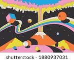 abstract psychedelic space... | Shutterstock .eps vector #1880937031