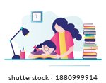 school girl sleeps at workplace....   Shutterstock .eps vector #1880999914