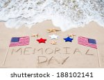 Stock photo memorial day background on the sandy beach 188102141