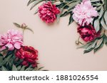 Frame Of Beautiful Peonies On...