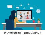 video conference with people...   Shutterstock .eps vector #1881028474