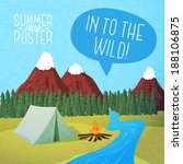 Cute summer poster - camping landscape with tent and bonfire, with speech bubble for your text. Vector.