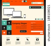 flat website template with...