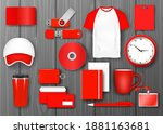red corporate identity...   Shutterstock .eps vector #1881163681