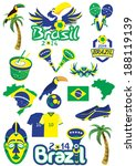 Big set of Brazilian templates - football, Brazilian accessories, clothes, trees, musical instruments, animals. For banners, sport backgrounds, presentations