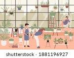 people planting green plants in ...   Shutterstock .eps vector #1881196927