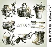 sketch gardening set. hand... | Shutterstock .eps vector #188121467