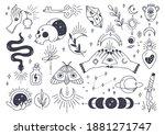 set of mystic astronomy in hand ... | Shutterstock . vector #1881271747