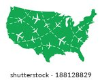 usa map with airplane routes | Shutterstock .eps vector #188128829