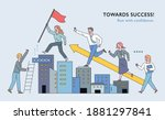 business people are climbing... | Shutterstock .eps vector #1881297841