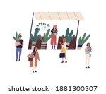 female vendor at outdoor...   Shutterstock .eps vector #1881300307
