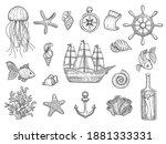 Marine Symbols. Fish Ship...