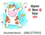 vector ox. hand drawn cute cow. ... | Shutterstock .eps vector #1881379501