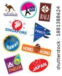 world travel icon sticker set | Shutterstock . vector #1881388624