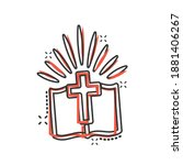 bible book icon in comic style. ... | Shutterstock .eps vector #1881406267
